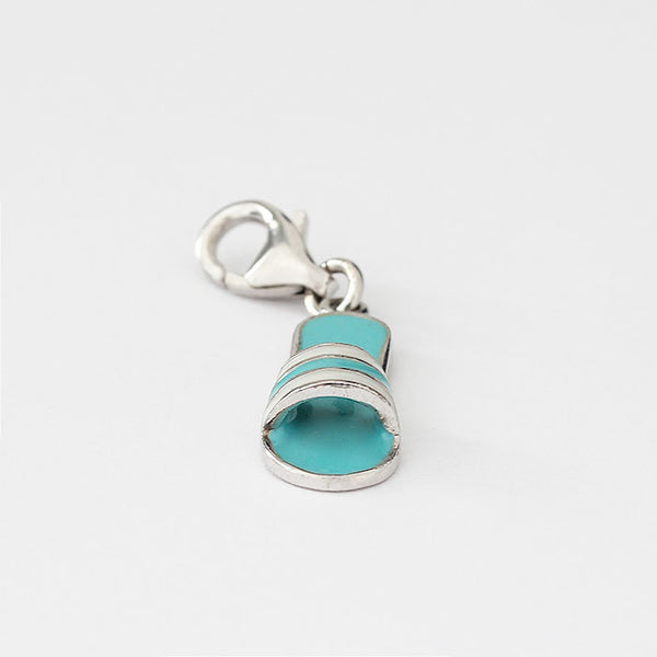 silver summer shoe charm with blue and white enamel