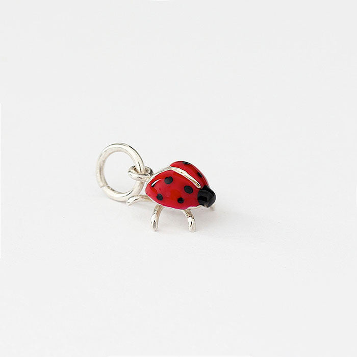 silver ladybird charm with red and black enamel