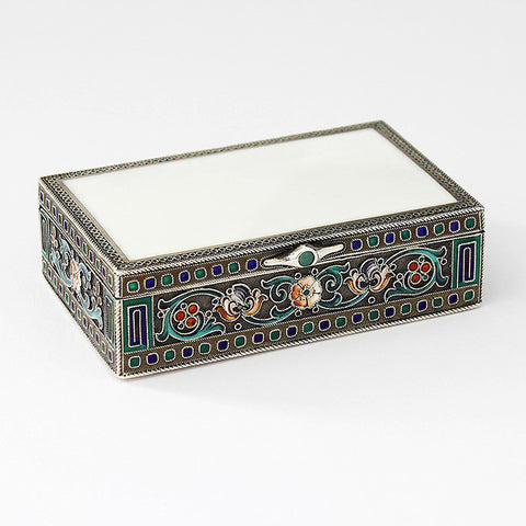 a beautiful russian enamel and silver trinket box