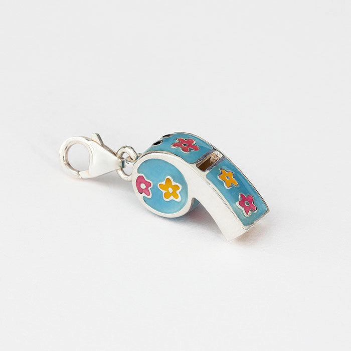 silver whistle charm with blue yellow pink enamel