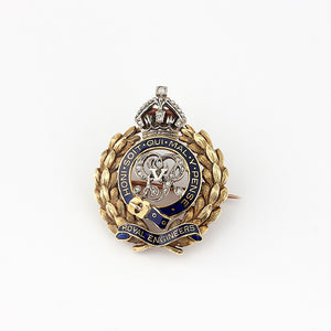 gold antique royal engineers brooch with diamonds and enamel