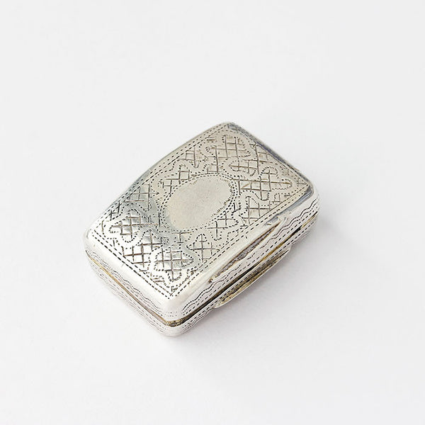solid silver vinaigrette with engraving georgian period with flower pattern