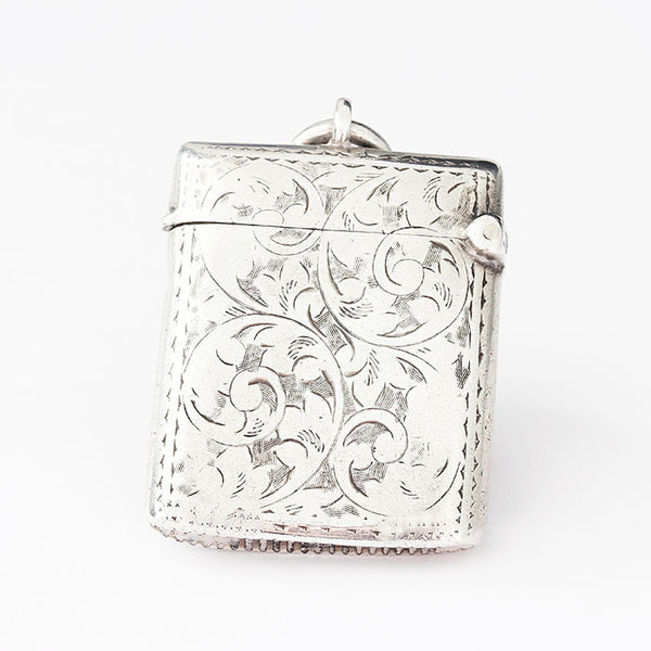 silver vesta case with leaf scroll pattern victorian rectangular