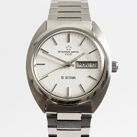mens eterna matic watch automatic stainless steel circa 1970s