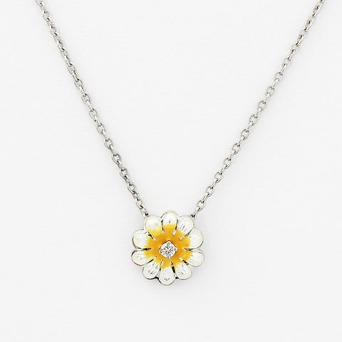 silver daisy enamel pendant with a small diamond on a trace chain in silver
