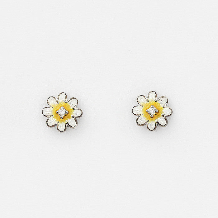 nicole Barr flower daisy enamel earrings with small diamond studs