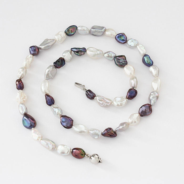 white and grey freshwater pearl necklace silver