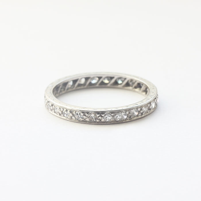 a platinum 1950s full eternity ring with diamonds finger size K and a half
