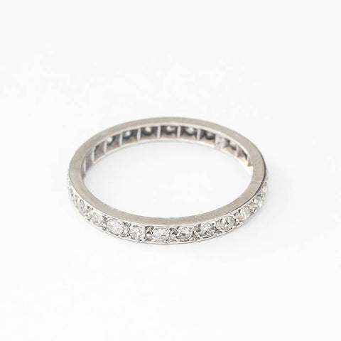 a stunning diamond set full eternity ring in platinum with individual grain settings finger size Q