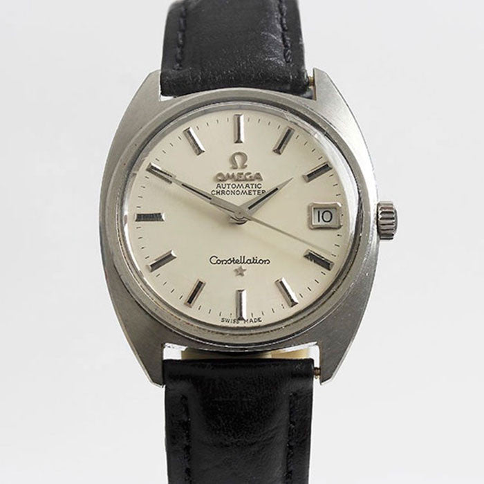 omega automatic gents watch with stainless steel case circa 1966 leather strap