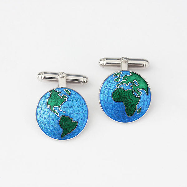 silver globe design enamel cufflinks green and blue colour