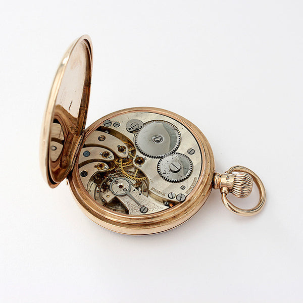 9ct yellow gold secondhand pocket watch with an open face 17 jewel movement and english made