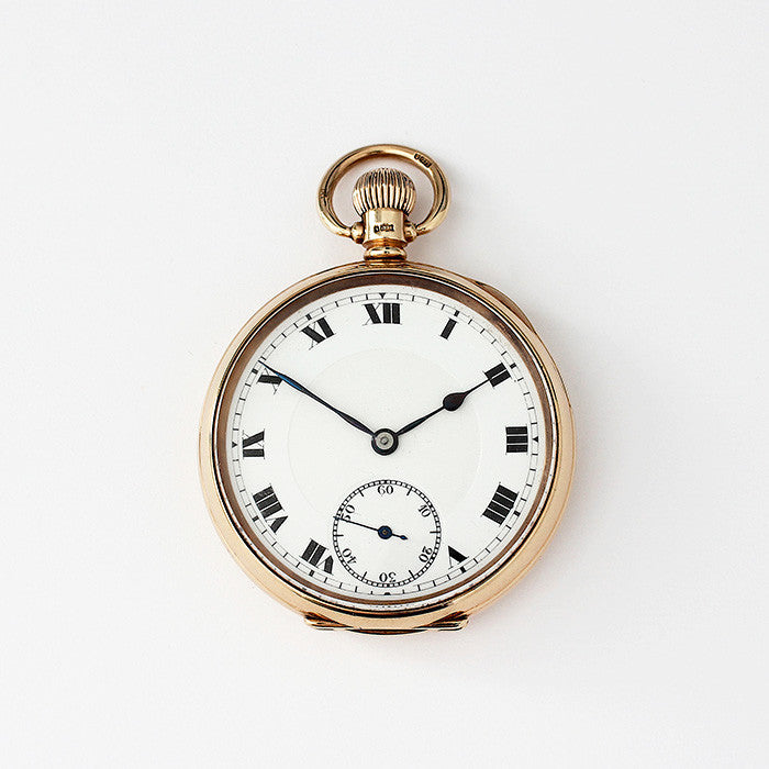 yellow gold pocket watch with open face and davison maker with english gold case