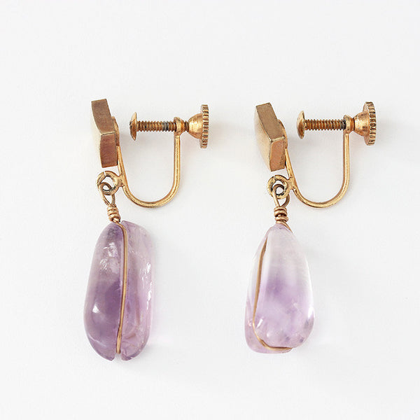 amethyst drop earrings in yellow gold with a screw fitting antique