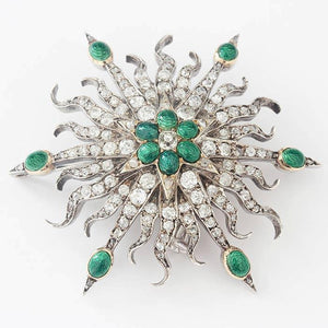 old cut diamond and green enamel secondhand spray brooch with yellow and white gold