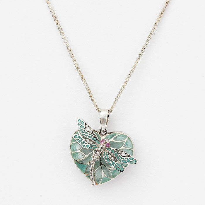 silver heart shaped pendant with dragonfly design and diamonds on a silver chain nicole barr