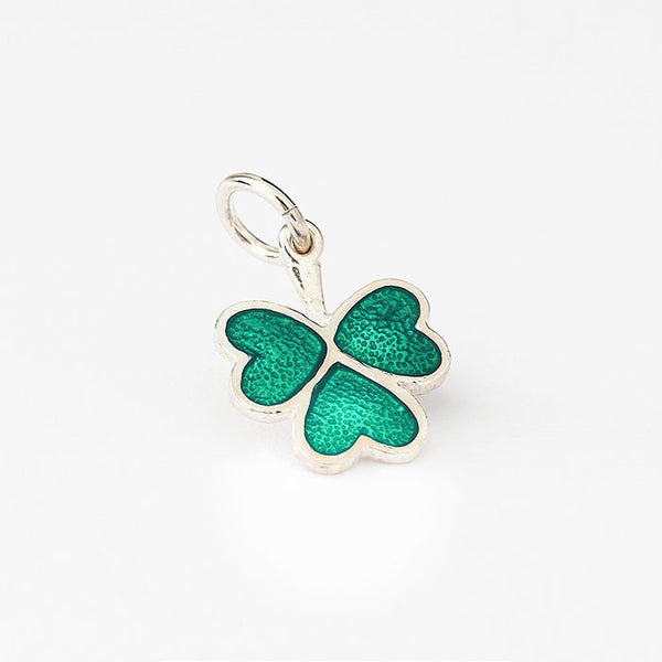 silver lucky shamrock charm with green enamel