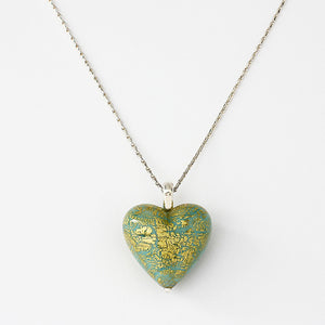 silver necklace with murano heart pendant green and gold coloured 18 inch chain
