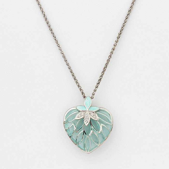 silver heart pendant aqua coloured with diamonds floral design on a silver chain 46cm
