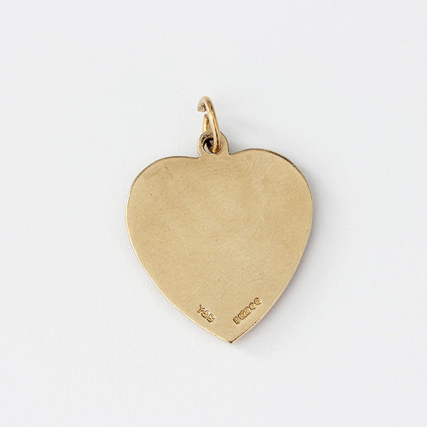 a yellow gold happy anniversary charm in a heart shape
