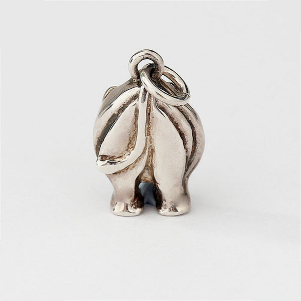silver standing up hippopotamus charm