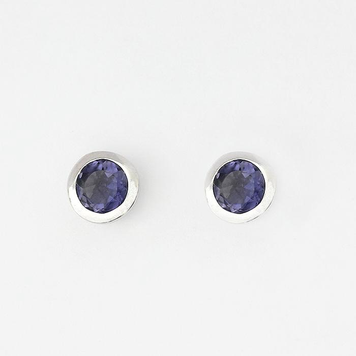 Iolite round stone set stud earrings made in sterling silver with post and butterfly fitting