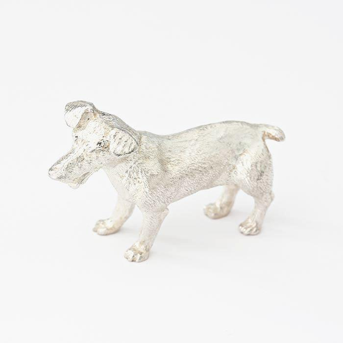 a solid silver jack russell dog figure for a table all british made