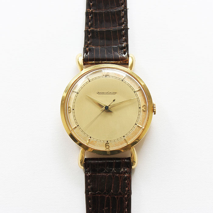a vintage jaeger le counter watch with tear shaped lugs and circa early 1950s 18ct gold