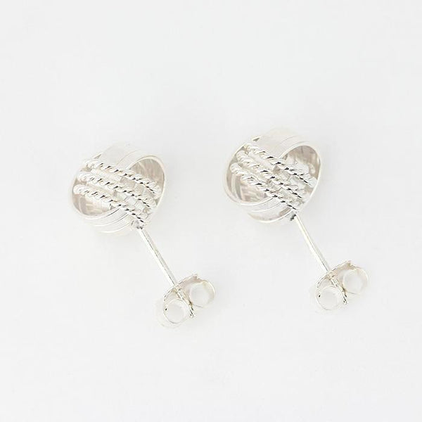 knot pattern stud earrings in sterling silver 10mm wide