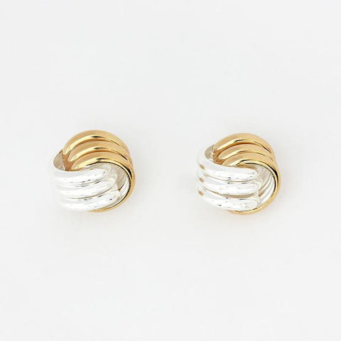 silver and gold plated knot design stud earrings with post and butterfly fitting