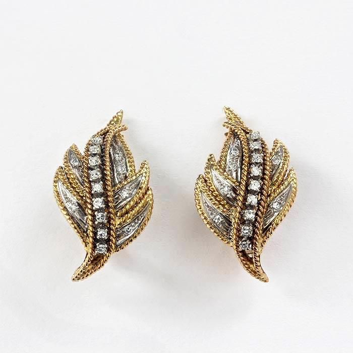 Diamond Set Leaf Shaped Gold Clip Earrings - Secondhand