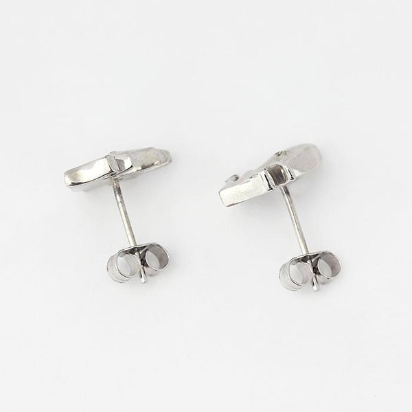 sterling silver leaf design stud earrings with 2 small diamonds set within
