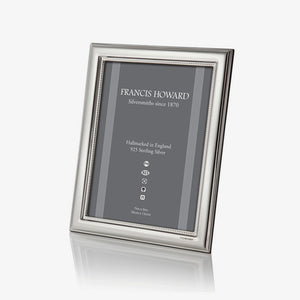 sterling silver photograph frame with an inner bead edge and wooden back and box