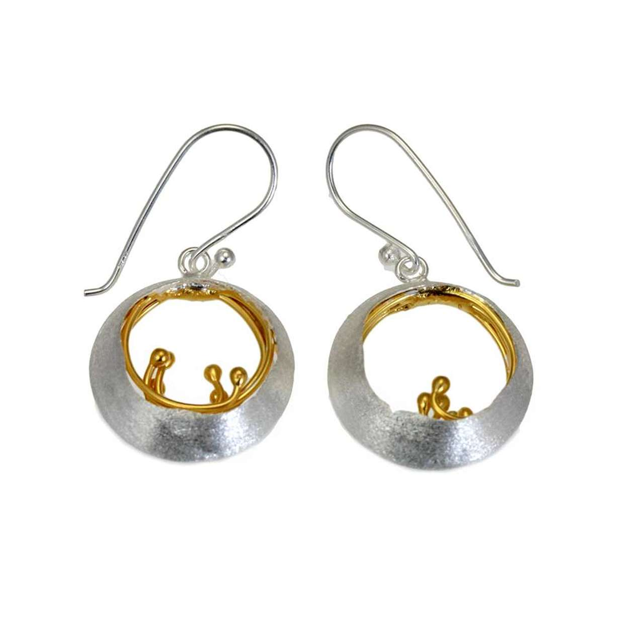 Little Water Feature Silver & Gold Plated Earrings by Christin Ranger