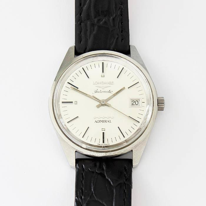 a vintage preowned gents longines automatic watch with stainless steel case and leather strap with date feature