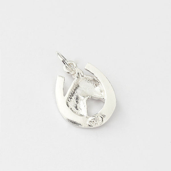silver horse head and horse shoe charm