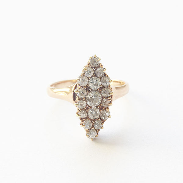 a marquise diamond cluster ring in yellow gold secondhand item