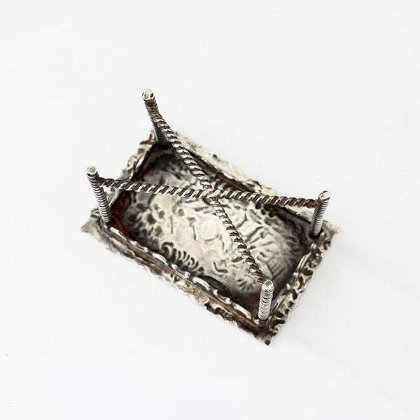 an antique miniature decorative rectangular table dolls house size in sterling silver with beaded edge legs dated 1898