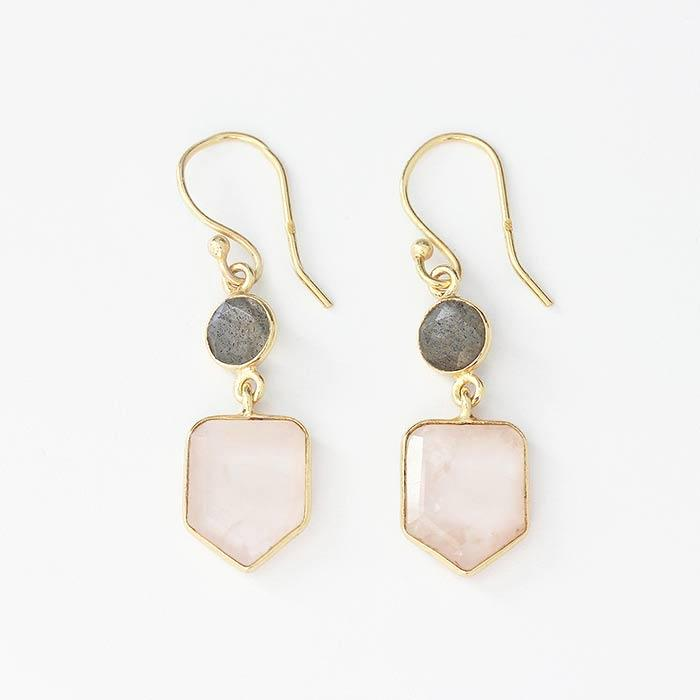 labradorite and rose quartz drop earrings in a gold gilt with silver underneath with hook fittings