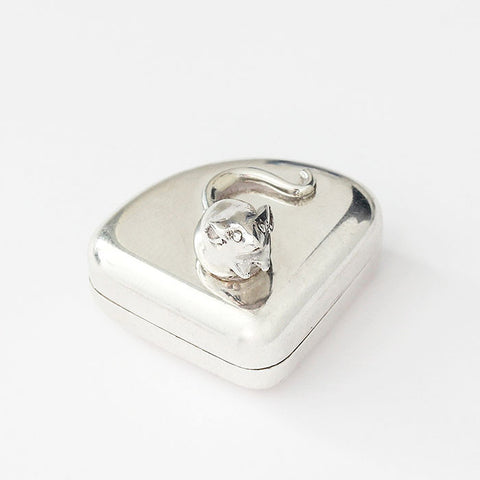 modern silver box with mouse on top cheese shaped box