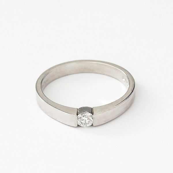 a platinum diamond tension set single stone engagement ring