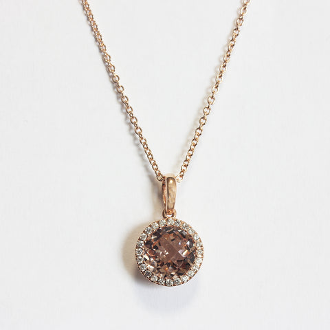 a stunning brown morganite faceted and diamond cluster pendant with a rose gold chain