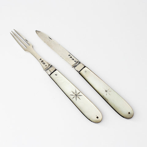 mother of pearl travelling knife and fork set with silver handles georgian period