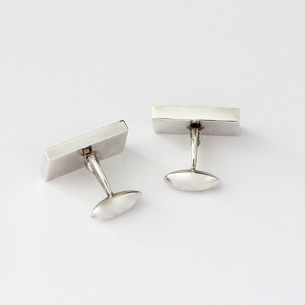silver cufflinks with a mountain view with enamel