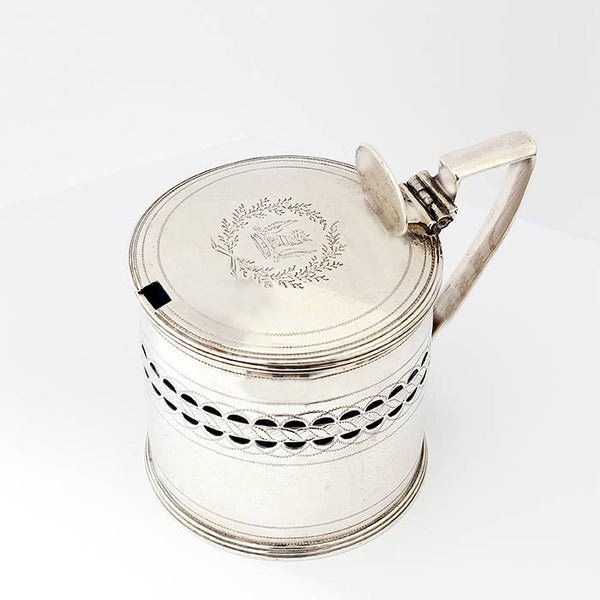 a georgian mustard pot with blue liner and hallmarked london 1801