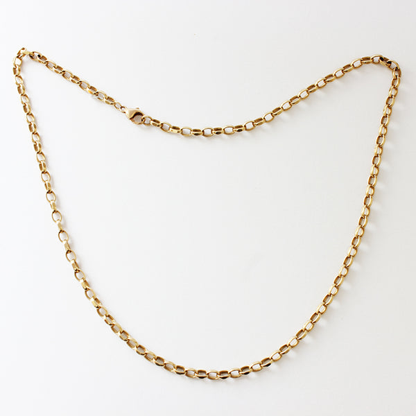a yellow gold preowned faceted oval belcher link chain necklace