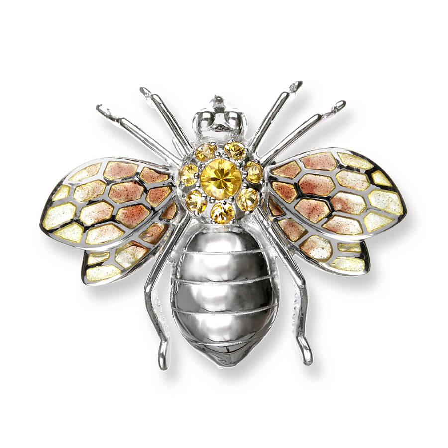 enamel yellow sapphire and silver bee brooch by nicole barr
