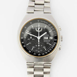 an excellent quality omega speed master automatic mens watch with stainless steel case and strap with omega fitted box dated 1970s