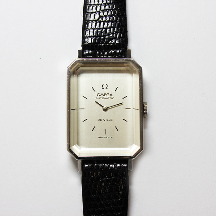 an omega de ville automatic ladies wrist watch with black leather strap and octagonal case