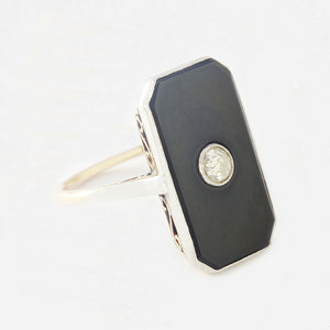 an Art Deco onyx and diamond ring in 18 carat and platinum secondhand marston barrett